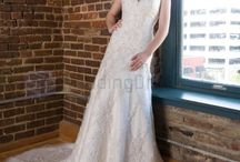 Cathedral Train Wedding Dresses / A-line Satin Delicate Lattice Bodice Beaded Lace Halter Neckline CaThedral Train Wedding Dresses / by eweddingdress