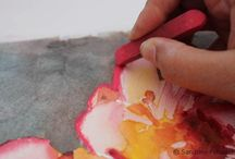 Peinture aquarelle avec pastel