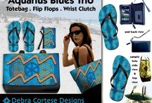 TRIO Collections: Tote, Flip Flops, Clutch / Debra Cortese Designs TRIO COLLECTIONS include a large, casual tote bag, matching leather wrist clutch and a pair of matching flip flops. Save $$ when you buy your favorite design in my Trio Collections