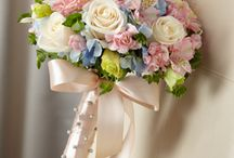 Wedding bouquet,pink,cream,blue