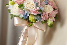 Wedding bouquet,pink,cream,blue