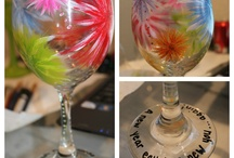 Wine glass painting ideas! / by Heather Hill