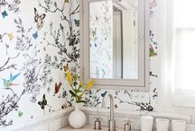 Whimsical Wallpapered Bathroom / Inspiring you with whimsical wallpapered bathrooms, in particular bird- themed versions.