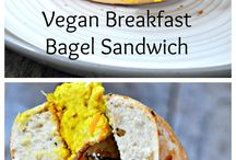 Recipes | Bagel Sandwiches / Dairy-free, meatless, eggless, vegan, vegetarian, and plant-based sweet and savory bagel sandwich recipes