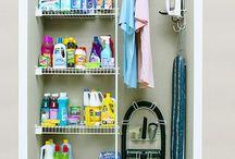 Ideas Cuarto Plancha para guardar productos limpieza, aspiradora...