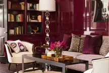 Lounge room ideas / Looking at burgundy and maybe antique white - bookshelves, liquor cabinet and China cabinet