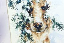 cute dog under snow branch