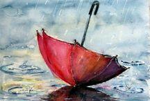 Déšť - deštníky / Jak malovat