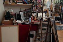 Dans l'atelier de Robert Combas / Quelques photos choisies de l'atelier de l'artiste français Robert Combas au moment de sa préparation de son exposition Taras Boulga à la galerie Laurent Strouk