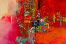 Abstracte Acryl Schilderijenred