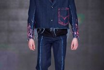 GRADUATE COLLECTION / TUGBITTER AW 17'18 Menswear Raw denims give youth pieces and streetwear a more premium look, but are juxtaposed with embroideries, hand-paints, frayed edges and baggy knees for a lux-grunge style. In this direction, destruction details are more considered as decorative embroideries with longer frays, unfinished seams and accent placements. Garments are upsized and patterns are deconstructed inspired by child labour as a result of immigration for a more experimental look. Market : Young Men