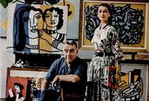 Painter Fernand Leger in Studio with Model Anne Gunning - Photo Mark Shaw 1955