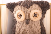 owls made from repurposed wool sweaters and fabrics