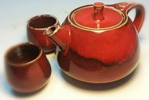 Teapot / Teapots and cups...red earthenware with glazes, low temp firing