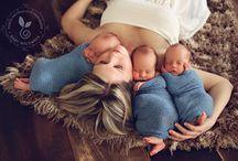 Fotos de trigêmeos e a mamãe / Inspiração de fotografia de trigêmeos e a mamãe