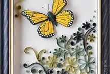 Quilled butterfly with flowers
