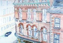 Historical research for conservation. Watercolours, drawings + Ship interiors / Watercolours for historical research project. Timber Victorian shopfront facades, Leeds.