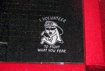 Firefighter, Firemen, Fire Department Decals / Firefighter quotes, fire department decor ideas, first responder, volunteer fire department and firefighter cross decals.