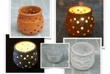 Porta-velas de cerâmica