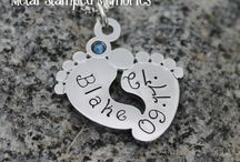 Hand Stamped Necklaces / Hand Stamped Necklaces personalized with names and birthstones of children for mothers.