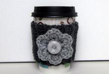 crochet cup, tea cozies and jars