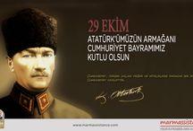 """29 Ekim Cumhuriyet Bayrami / marmassistance ailesi olarak, Mustafa Kemal Atatürk'ün """"Bugünkü hükümetimizin, devlet teşkilatımızın doğrudan doğruya milletin kendi kendine, kendiliğinden yaptığı bir devlet ve hükümet teşkilatıdır ki onun adı Cumhuriyettir. Artık hükümet ile millet arasında geçmişteki ayrılık kalmamıştır. Hükümet millet ve millet hükümettir (1925) """" sözlerini hatırlayarak ve saygıyla anarak, 29 Ekim Cumhuriyet Bayramınızı kutluyoruz."""