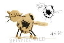 Skizzenmonster nach Kinderzeichnungen / Umsetzungen von Kinderzeichnungen in Holz als Skulpturen, Spielzeuge, Deko-Elemente, Kühlschrankmagnete oder Anhänger