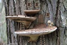 mini houses on trees made of wood