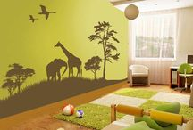 Kids room wall theam / A wall to wall decal can bring a room to life. This safari scene comes in a whopping 34 colourways but we love the lime green and brown which is co-ordinated with similarly hued soft furnishings.