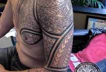 Work in progress.  Polynesian, Samoan, Marquesan, Maori, inspired tattoos. / Polynesian, Samoan, Marquesan, Maori, Tahitian, inspired  freehand tattoos, work in progress.