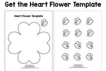 Heart flower template