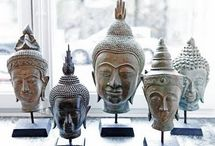 Buddha heads / Many faces of tranquility and joy of life