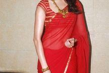plain red saree