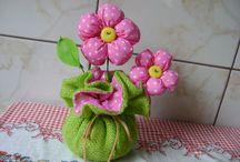 Цветочки из ткани