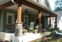 Porch posts with stone
