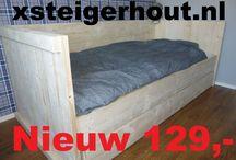Bedden als bouwpakket van steigerhout / Bed bouwpakketten