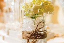 Mason jars and bottles. ..wedding inspirations!
