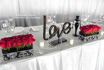 Esküvői asztaldíszítés (piros) - Wedding Table Decoration (red)