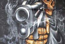 Tattoos skull/chicano/gangsta
