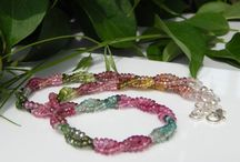 multicolored tourmaline beaded necklace / multicolored tourmaline beads necklace twisted