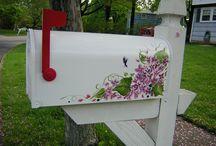 Painted mailboxes,Trash bins etc