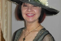 "My Friend Trish wearing ""Cora"" Downton Abbey Hat designed by East Angel Harbor Hats"