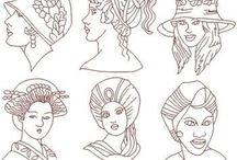 Redwork  Mujeres