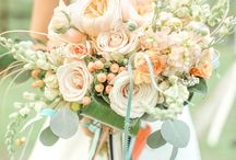 Green and peach wed
