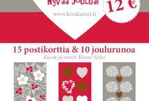 KivaKaverin joulupostikortit / Hanni Seitsin kuvittamat postikortit 15 kpl. Mukana myös 10 ainutlaatuista joulurunoa. Kerää rahaa kauniilla ja kotimaisilla postikorteilla.