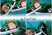 """Customized painting canvas shoes for children..""""The paw patrol"""" Handmade by CarpeCrafts"""