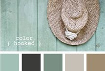 grey, green and taupe