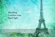 Papiers exemples avec les fondus des packs Paris CU / Quelques réalisations de papiers avec des papiers de base colorés (pack 2 du kit Venice Carnival) et les fondus Paris - CU pack 1