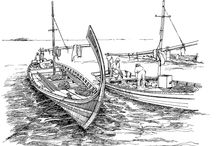 Pen and Ink / Pena and Ink drawing of Fishing boats from India, Bangladesh, Sri Lanka and Maldives