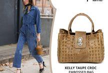 Cute Kelly Taupe Croc embossed Italian leather handbag